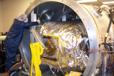 Inside TVAC (Thermal VAcuum Chamber)