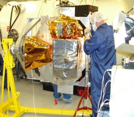 Instruments being mounted in the TVAC